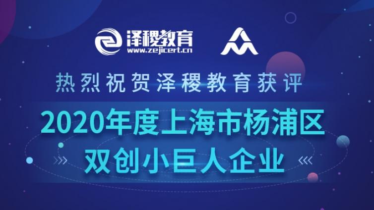 """科技引领发展 创新赋能未来——热烈祝贺泽稷教育获评""""2020年度上海市杨浦区双创小巨人""""企业"""