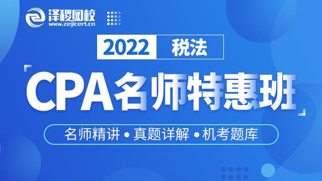 CPA名师精讲特惠班 税法